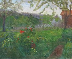 """huariqueje: """"  Garden with Flowers - Thorvald Erichsen , 1903 Norwegian,1868-1939 Oil on canvas, 66 x 81 cm. (26 x 31.9 in.) """""""