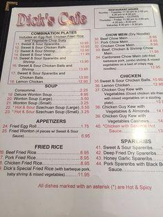 Menu options, Dick's Cafe,134 Saskatchewan Ave E, Portage la Prairie, MB