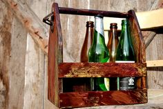 Wood Beer Box, Reclaimed Wood Box, Carrier, Painted Crate, Reclaimed Beer Box…