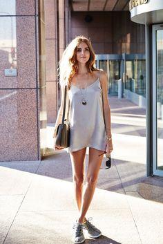 metallic silver slip dress with gray sneakers