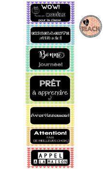 Tableau gradué pour le suivi journalier des comportements (utiliser des épingles avec les prénoms des élèves) Behavior, Management, Organisation