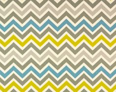 Chevron Turquoise Fabric, MustardYellow ZigZag Fabric, Beige/Taupe/Cream/Goldenrod, Premier Prints, Drapery/Upholstery Fabric, 56/58'' Width