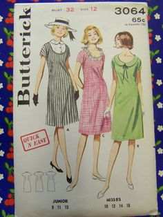 Left and right neckline (Butterick 3064 from the 1960s)