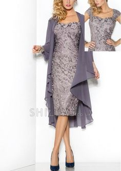 Sheath Square Neckline Knee-Length Lace Mother Of The Bride Dress with chiffon jacket - 1640559 - Mother of the Bride Dresses Wedding Outfits, Wedding Dresses, Chiffon Jacket, Floral Shoes, July 17, Bride Dresses, Mother Of The Bride, Short Dresses, Hair Beauty