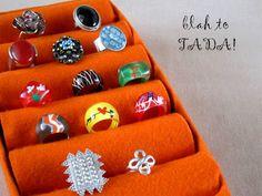 blah: tissue box, toilet paper rolls, felt/TADA!: ring tray