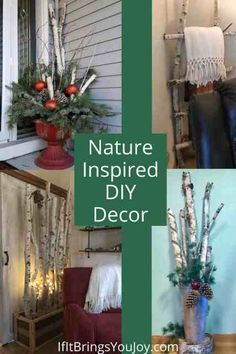 Stylish ideas for decorating with items from nature. Nature inspired decor for a unique, one-of-a-kind look that's also eco-friendly. Use birch branches, cattails, pine bough, sticks, pine cones, and any other items found in nature. #decor Outdoor Christmas Decorations, Christmas Crafts, Christmas Holidays, Christmas Ideas, Nature Decor, Nature Nature, Cool Diy Projects, Home Projects, Winter Window Boxes