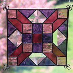 stained glass suncatchers | NEW 6 Stained Glass Quilt Pattern Panel Suncatcher 601