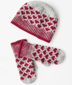 Stickbeskrivning mössa och vantar med julmönster Sticka vinterns 