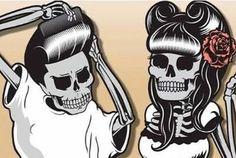 Rockabilly psychobilly skeletons. :)