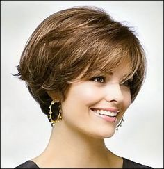 Hair Styles Ideas : Illustration Description For women blessed with thick, beaut. - Hair Styles Ideas : Illustration Description For women blessed with thick, beautiful hair, any hair - Short Hairstyles For Thick Hair, Short Brown Hair, Layered Bob Hairstyles, Short Hair Cuts, Curly Hair Styles, Layer Haircuts, Stacked Haircuts, Nice Hairstyles, Hairstyles Pictures