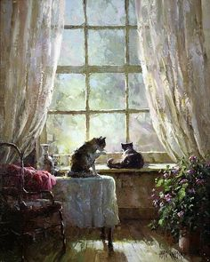 Buy online, view images and see past prices for Ivars Jansons CATS ON A WINDOWSILL signed oil on. Invaluable is the world's largest marketplace for art, antiques, and collectibles. Art Et Nature, Cat Signs, Illustration Art, Illustrations, Cat Drawing, Beautiful Birds, Cat Art, Cats And Kittens, Fine Art
