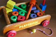 Playskool wagon with blocks