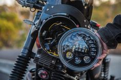 J.W. Speaker Model 8970 Adaptive Matrix LED motorcycle headlight: fits easily into any standard 7-inch headlight bucket in a 15-minute installation. Here shown on a 2008 Triumph Bonneville.