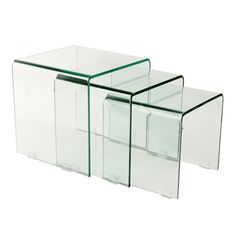 York Curved Glass Coffee Nest of 3