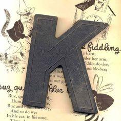 Vintage Marquee Letter K in Heavy Black Plastic Vintage Sign Letter