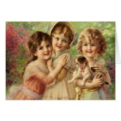 #Trio of Girls with Puppy Card - #Petgifts #Pet #Gifts #giftideas #giftidea #petlovers