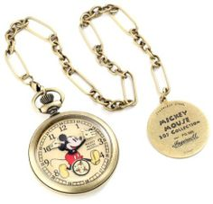 Ingersoll Unisex IND 25835 Ingersoll Mickey Mouse 30's Collection Gold Pocket Watch Ingersoll. $244.51. Antique finish stainless steel case. Mechanical movement. Seconds subdial. Black arabic numerals. Mickey mouse image on dial