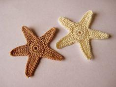 Crochet Starfish Appliques Star Fish Sea Stars by GoldenLucyCrafts