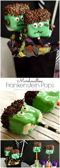 Frankenstein Marshmallow Pops | If you're looking for Halloween party food ideas these easy Frankenstein Marshmallow Pops are a fun Halloween dessert recipe that is perfect for kids and adults. via @hmiblog