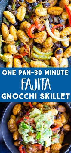 This Fajita Gnocchi Skillet with Avocado Salsa is an easy and delicious 30 minute dinner recipe! It's a family friendly meal that also happens to be vegan and easily made gluten free! This Healthy Fajita Gnocchi Skillet is also a one pan meal making clea Vegan Recipes Easy, Healthy Dinner Recipes, Vegetarian Recipes, Cooking Recipes, One Pan Meals, Quick Meals, 30 Minute Dinners, Whole Wheat Pasta, Vegan Dinners