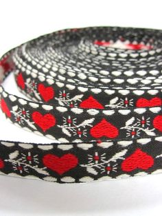 Jacquard Braid Red Hearts Black Background Vintage 1960s 17 Plus Yards by clairemarieantiques on Etsy