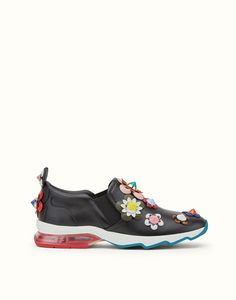 FENDI FASHION SHOW SNEAKER - in black leather with multicolored flowers