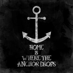 Where The Anchor Drops (Black) Art Print