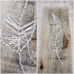 Diy handmade feather yarn embroidery floss bakers twine or even jute – ArtofitMake a Yarn Feather WreathHow to handmake feathers with thread – Artofit Feather Crafts, Feather Art, Easy Yarn Crafts, Diy And Crafts, Style Deco, Driftwood Art, Craft Items, String Art, Diy Gifts
