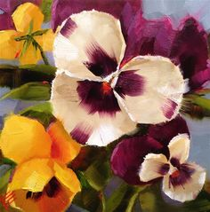"Daily Paintworks - ""Pansies on blue II"" - Original Fine Art for Sale - © Krista Eaton"