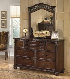 Leahlyn Collection Old World Style Warm Brown Finish Bedroom Storage Dresser >>> Click on the image for additional details. (This is an affiliate link) #AshleyFurniture