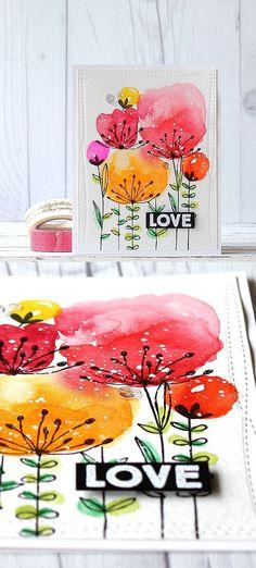 Watercolor Blumen. Karte, diy