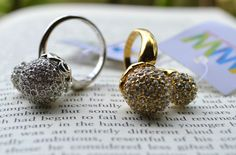 Gold & Silver with white stone 2 balls
