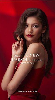 Zendaya for Lancome L'absolu rouge ruby cream lipstick 2019 #zendaya #lancome Zendaya Maree Stoermer Coleman, Lancome, Face Claims, Holland, Fans, Lipstick, Cream, Movie Posters, Beautiful