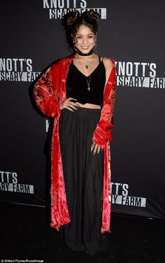 Scary stylish!Vanessa Hudgens spellbound in a hauntingly stylish ensemble for a night at Knott's Scary Farm on Friday
