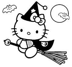 coloriage hello kitty en sorciere sur son balai