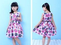 Summer Floral Big Bow Cotton Sleeveless Kids Flower Sundress Party Birthday Lovely Girls Clothes8