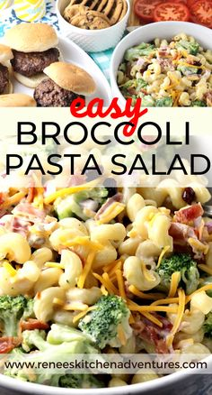 Easy Broccoli Pasta Salad by Renee's Kitchen Adventures. Your favorite broccoli salad (the one with bacon, cheese, dried cranberries, red onion, and sunflower seeds) combines with your favorite sweet macaroni salad to create this flavorful side dish that pairs perfectly with grilled burgers! A summertime staple! #RKArecipes #grillingsidedish #Summersidedish #pastasalad #broccolisalad #sidedishrecipe