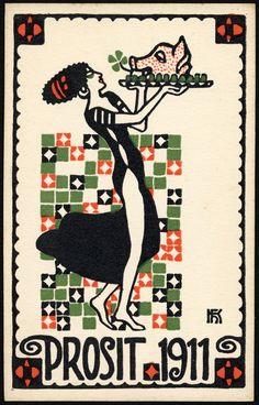 1911 Wiener Werkstätte new year's postcard by Hans Kalmsteiner.