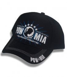 """Black ball cap with a """"POW MIA, YOU ARE NOT FORGOTTEN"""" embroidered across the crown, and POW MIA embroidered on the bill. Item SKU: CAP007  Assorted ball caps with embroidered logos and emblems for Unites States Military, war veterans, Firefighters, and POW MIA. Quality 6 panel, durable canvas cotton ball caps with detailed embroidered crown. All caps are velcro enclosure for simple adjusting and to ensure a tight fit. Ball caps are one size fits all."""