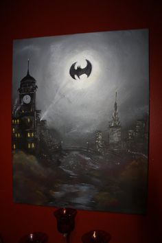 Batman painting on canvas, thick paint. City Painting, Painting & Drawing, Batman Painting, Batman Artwork, Marvel Paintings, To Infinity And Beyond, Gotham City, Art Tutorials, Painting Inspiration