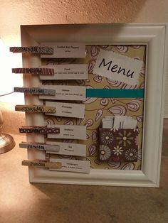 My menu planner I made today. Now I know exactly what to make for the week! Tommy will be so glad;)