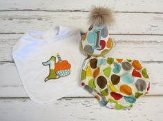 Baby boy / Toddler Cake Smash Birthday Outfit including a necktie diaper cover & party hat in Retro Fall Polka Dots
