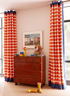 campaign dresser and striped curtains. Anne Hepfer. those are some fun curtains!!
