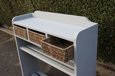Shoe rack with seagrass basket storage by Blackcatfurniture, £250.00  Handmade and handpainted in our workshop designed by Christian Hutchinson
