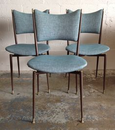 Grant Featherstone 1957 Mitzi dining chairs.  3 of 6 re-upholstered. Metal frames not restored.