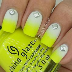 Hellooooo SUMMER Bright yellow nails and diamond accents for a great start to summer! Nails Opi, Neon Nails, Manicures, Neon Nail Designs, Nail Polish Designs, Cute Nails, Pretty Nails, Yellow Nails Design, Nailed It