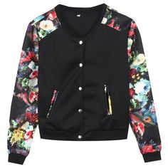 Women Long Sleeve Zip Up Floral Print Casual Bomber Jacket (550 DOP) ❤ liked on Polyvore featuring outerwear, jackets, floral print jacket, bomber jacket, flower print jacket, bomber style jacket and blouson jacket