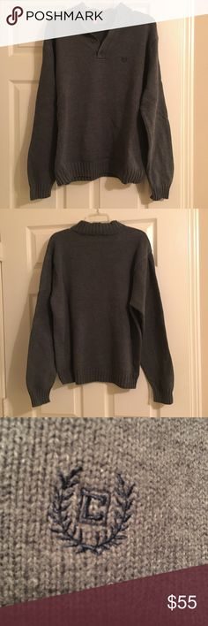 🎉SALE🎉 Chaps Men's Gray Sweater It is a quarter button down pullover sweater. It has been worn a couple times, in good used condition. It is a size large. Chaps Sweaters