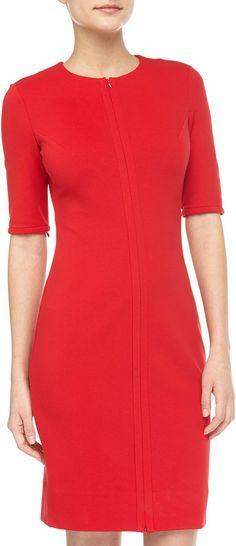 Diane von Furstenberg Saturn Ponte Front-Zip Dress, Hot Red on shopstyle.com