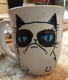 """Made to order, Grumpy cat 12oz coffee mug. Grumpy cat design drawn on front, """"NO"""" written on back. Please allow 1-2 weeks for mug to be shipped"""